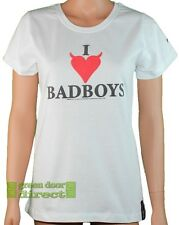 Xplicit Tease Womens I Love Badboys White Black & Red Heart T Shirt Top 8 12 14