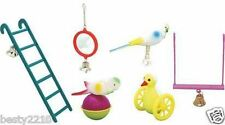 BIRDIE BEAKS! TRADITIONAL TOYS FOR YOUR CAGED BIRD - BUDGIE MIRROR, BELL, SWING