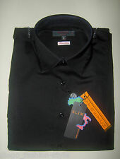 TIPO'S Camicia Uomo Slim Fit in cotone Stretch colore NERO (100% made in Italy)