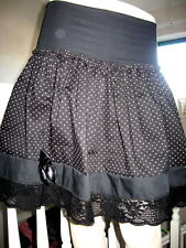 NEW Black pink spotted Lace Lolita Punk Boho Rock Gothic Skirt all sizes Party