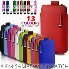 LEATHER PULL TAB SKIN CASE COVER POUCH+MINI STYLUS FITS VARIOUS NOKIA MOBILES
