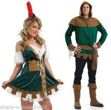 Couples Adults Mens AND Ladies Robin Hood Medieval Fancy Dress Costumes Outfits