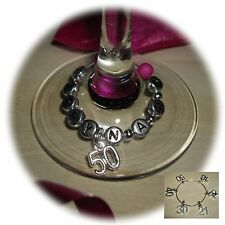 Personalised Wine Glass Charm Ring, Birthday 16th 18th 21st 30th 40th 50th