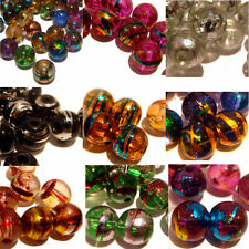 50 DRAWBENCH OILY DRIZZLE ROUND GLASS BEADS 8MM FOR JEWELLERY MAKING