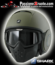 Casco jet helmet capacete casque Shark raw verde opaco green matt