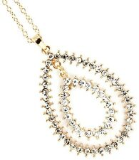 """Gold/Silver Double Drop Oval Clear Crystal Pendant w/ 18"""" Chain Fashion Necklace"""