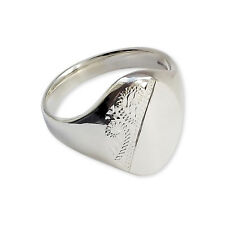 Solid Sterling Silver Oval Signet Ring 18 x 13mm Half Engraved Stamped 925 UK HM