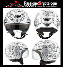 Casco jet helmet casque Agv Bali Copter plain bianco nero white black