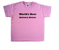 World's Best Delivery Driver Pink Kids T-Shirt