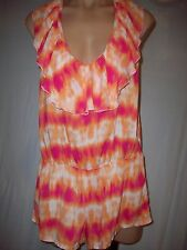NWT VICTORIAS SECRET BEACH SEXY TIE DYE ROMPER SHORTS SWIM COVER UP PINK ORANGE