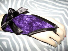 NEW Gothic Black Red Purple Lace velvet Spots Fingerless Hand gloves Lolita Rock