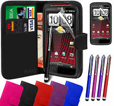 PU Leather Wallet Flip Case Cover, LCD Film & 3 Pens for HTC Sensation XE
