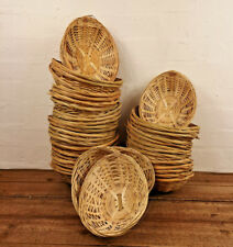 Oval Natural Bamboo Vintage Wicker Bread Display Hampers Trays Storage Baskets