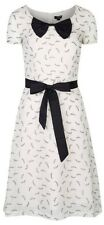 MyMust White Dragonfly Print Elegant Dress With Bow And Belt