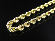 Mens or Ladies 10K Yellow Gold 5.0 MM Hollow Rope Chain Necklace 22-30 Inches