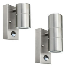 PIR Movement sensor wall lights Up/Down or Single Stainless Steel IP44 outdoor