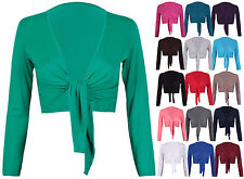 Womens Long Sleeves Ladies Stretch Bolero Cropped Cardigan Front Tie Shrug Top