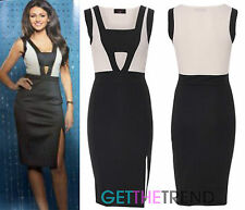 Women's Black Cream Contrast Panel Cut Out Sleeveless Party Cocktail Dress 8-14