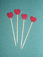8cm Red Heart Bamboo Skewers Cocktail Sticks Ideal Buffet Canapes & Party Food