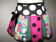 NEW Pink Black Green Spotted Kitty Patchwork Retro Festival Skirt Lolita Party