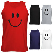 Mens Smiley Happy Face Vest Tank Top S-XXL