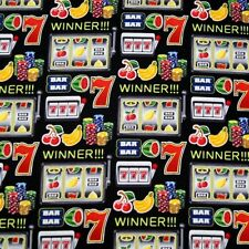 Gambling Lucky 7 Fruit Machine One Arm Bandit Casino 100% Cotton Fabric