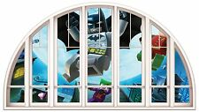 Huge 3D Arched Window Comic Heroes View Wall Stickers Film Mural Art Decal