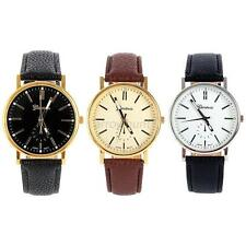 Mens Luxury Leather Band Gold Dial Sports Analog Dial Quartz Wrist Watch New A11