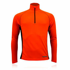 Higher State Herren Funktionsshirt Langarm 1/2 Zip Laufshirt Sport Top Orange