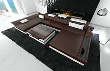 Leather couch Interior design MONZA Leather sofa with LED dark brown white