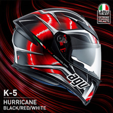Casco Agv k5 Hurricane Black Red integrale moto fibra di vetro e carbonio