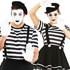 Mime Artist + Beret Adults Fancy Dress French Circus Clown Mens Ladies Costumes