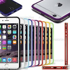 """Tpu Bumper Rim Case Cover For Apple iPhone 6 4.7"""" & Plus 5.5""""With Silver Buttons"""