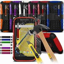 Shockproof Dual Layer Heavy Duty Case Cover & Glass For Motorola Moto E 2nd Gen