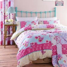 FLORAL SHABBY CHIC BUTTERFLY DUVET QUILT COVER BEDDING SET GYPSY PATCHWORK PINK