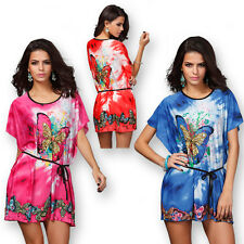 Sexy Women Butterfly Floral Boho Batwing Short Sleeve Comfy Mini Dress Plus Size
