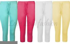 Womens Cropped Joggers Plain Crop Cotton Sweat Pants Bottoms Cuff Gym Dance New