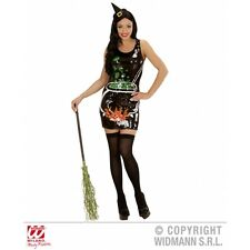 Ladies Womens Sequin Dress Witch Costume Outfit for Halloween Fancy Dress