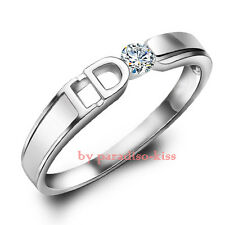 "ANELLO Da Donna Uomo Fascia Solitario Zircone ""YES I DO"" pla. Argento UAN18"