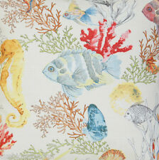 Fish Fabric Printed Coral Reef Cotton Tropical Yellow White Red Sold by Metre