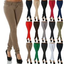 Damen Stretch Hose Jeans-Look Röhre Skinny Leggings Leggins Treggings Jeggings