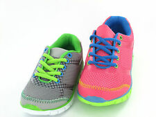 CHILDS REFLEX LACE UP TRAINER  IN CORAL/GREEN  & GREY/GREEN  STYLE - H2346