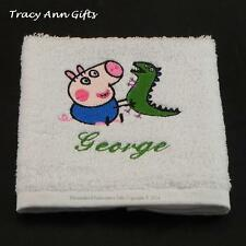 PERSONALISED PEPPA PIG GEORGE AND HIS TOY DINOSAUR  FACE CLOTH & TOWELS