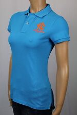 Ralph Lauren Blue Skinny Fit Polo Shirt Neon Orange Crest NWT