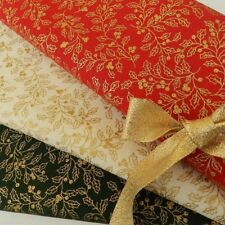 Gold leaf holly  fabric 100 % cotton per fat quarter/half metre 3 colours