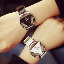 Fashion Womens Mens Quartz Stainless Steel Leather Band Analog Sport Wrist Watch