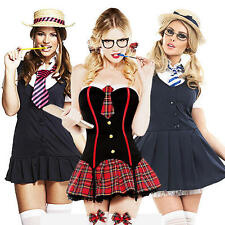 School Girl + Hat + Hoisery Ladies Fancy Dress Uniform Womens Adults Costume New