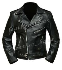 Arnold Schwarzenegger Terminator Genuine Leather Biker Slim Fit Jacket #511