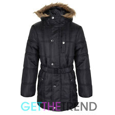 Girls Hooded Padded School Jacket Coat Kids Black Fur Hood Puffa Coat Jacket