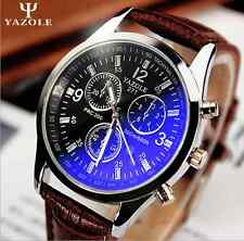 New Fashion Mens Date Leather Stainless Steel Military Sport Quartz Wrist Watch